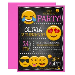 Cute Emoji Girl's Birthday Party Invitations
