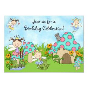 Cute Fairy Princesses and Frogs Birthday Party Invitations