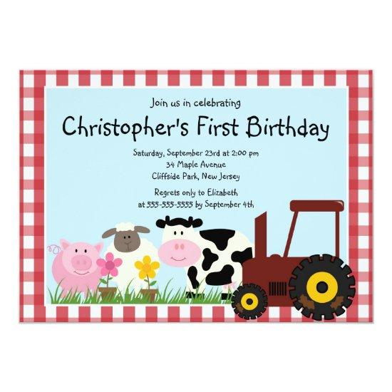 Cute Farm Animal Birthday Party Invitations Candied Clouds