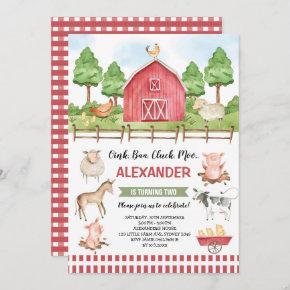 Cute Farm Animals Barnyard Birthday Bash Invitation