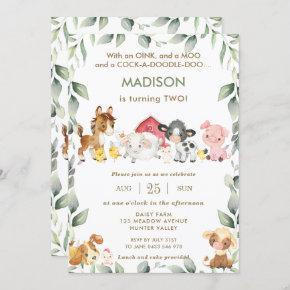 Cute Farm Animals Barnyard Greenery Birthday Invitation