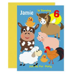 Cute Farm Animals Themed Kids Birthday Party Invitation