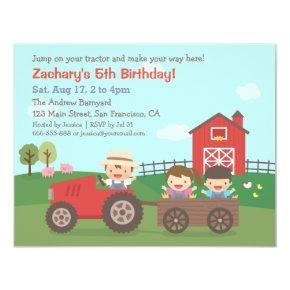 Cute Farm Tractor Kids Birthday Party
