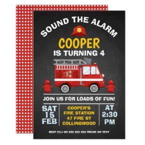 Cute Fire Engine Chalkboard Birthday Invitations