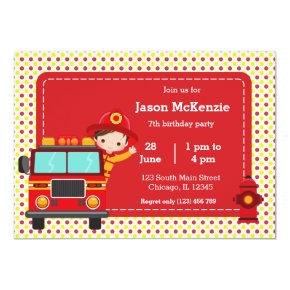 Cute Firefighter party Invitation