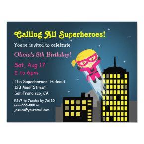Cute Flying Superhero Girl Girls Birthday Party Invitations