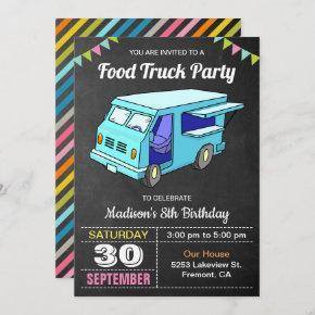Cute Food Truck Birthday Party Invitation