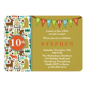 Cute Forest Animals 10th Birthday Party Invitation