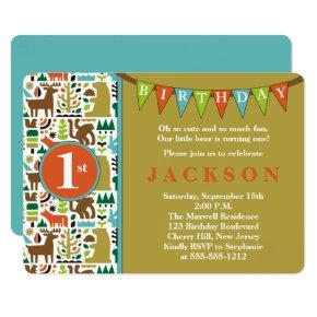 Cute Forest Animals 1st Birthday Party Invitation