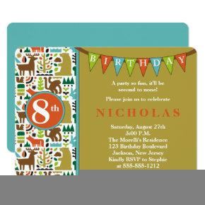 Cute Forest Animals 8th Birthday Party Invitation