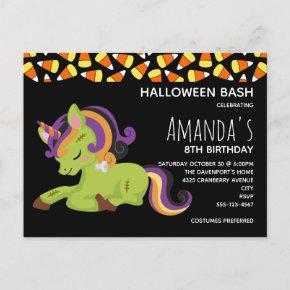 Cute Frankenstein Unicorn Halloween Birthday Invitation Post