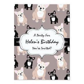 Cute French Bulldog Puppy Pattern Invitation