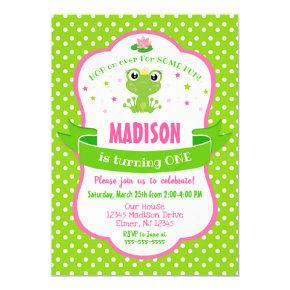 Cute Frog Princess Invitation for a Girl