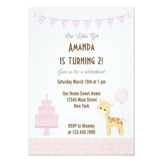 cute giraffe birthday party invitations candied clouds