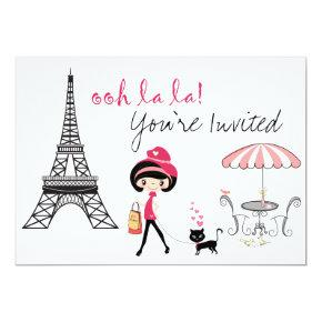 Cute Girl and Black Cat Paris Birthday Invitations