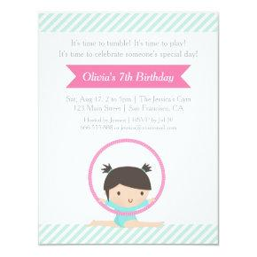 Cute Girl and Hoop Gymnastics Kids Birthday Party Invitation
