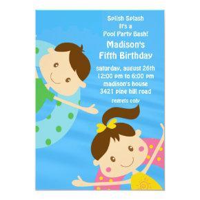 CUTE Girl & Boy Pool Party Birthday Invitations