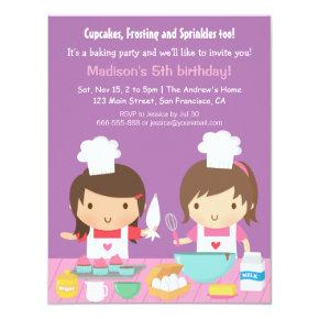Cute Girl Chef Cupcake Baking Birthday Party Invitation