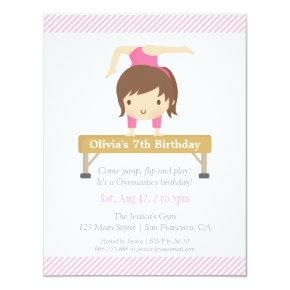 Cute Girl Gymnastics Kids Birthday Party Invitation