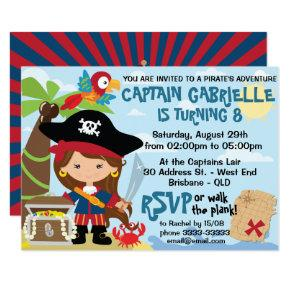 Cute Girl Pirate Party Birthday