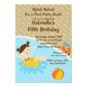 CUTE Girl Pool Party Birthday Invitations
