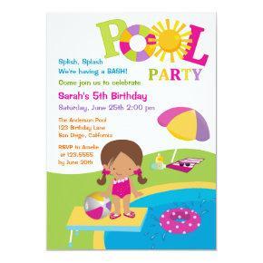 Cute Girl Pool Party Birthday Invitations