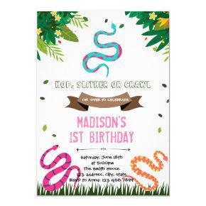 Cute girl snake birthday reptile invitation