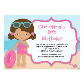Cute Girls Beach Party Birthday Party Invitations