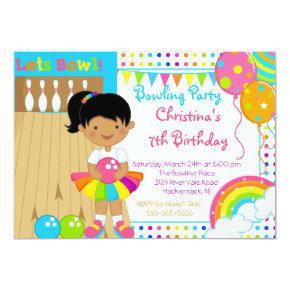 Cute Girls Bowling Birthday Party Invitations