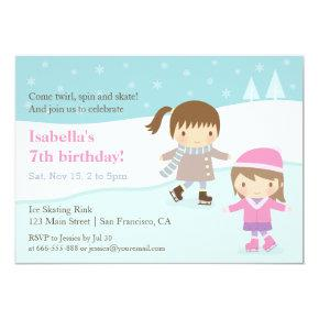 Cute Girls Ice Skating Birthday Party Invitations