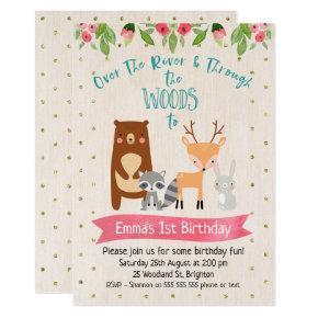 Cute Girls Woodland Animals Birthday Invitations