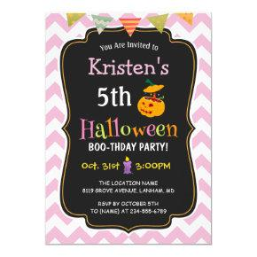 Cute Girly Chevron Kid's Halloween Birthday Party Invitations