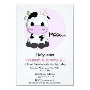Cute Girly Cow Polkadots Girl Kids Birthday Party Invitation