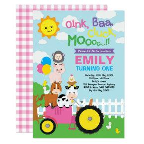 Cute & Girly Farm Birthday Barnyard Animals Party Invitation