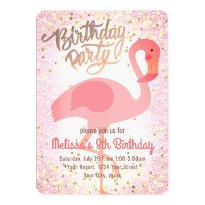 cute girly pink flamingo party invitation