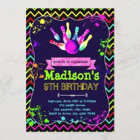 Cute glow bowling party birthday invitation