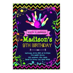 Cute glow bowling party birthday invitation