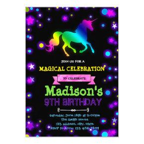 Cute glow unicorn party birthday invitation