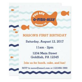 Cute Goldfish Birthday invitation
