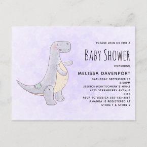 Cute Gray Dinosaur Toy Watercolor Baby Shower Invitation Post