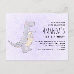 Cute Gray Dinosaur Toy Watercolor Birthday Invitation Post