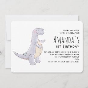 Cute Gray Tyrannosaurus Rex Dinosaur Toy Birthday Invitation