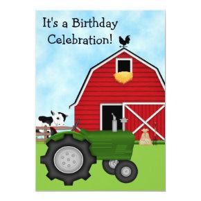 Cute Green Tractor and Red Barn Boys Birthday Invitation