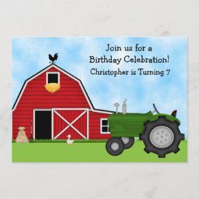 Cute Green Tractor and Red Barn Boys Farm Birthday Invitation