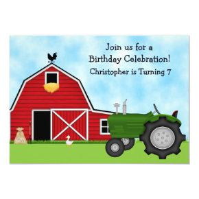 Cute Green Tractor and Red Barn Boys Farm Birthday Invitations