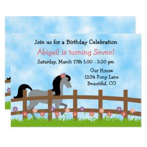 Cute Grey Horse and Flowers Girls Birthday Invite