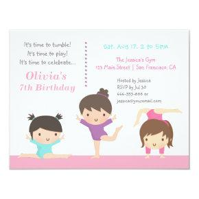 Cute Gymnastics Girls Birthday Party Invitations