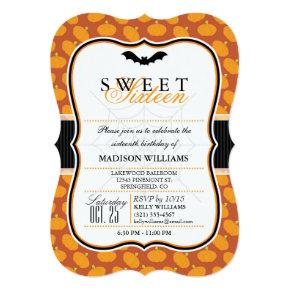Cute Halloween Theme Sweet 16 Party Invitations