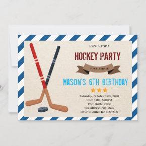 Cute hockey party Invitation