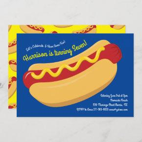 Cute Hot Dog Kids Birthday Party Cook Out Invitation
